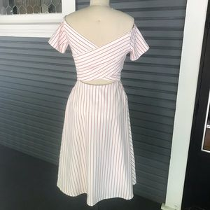 Ina Dresses - Red striped off the shoulder dress!
